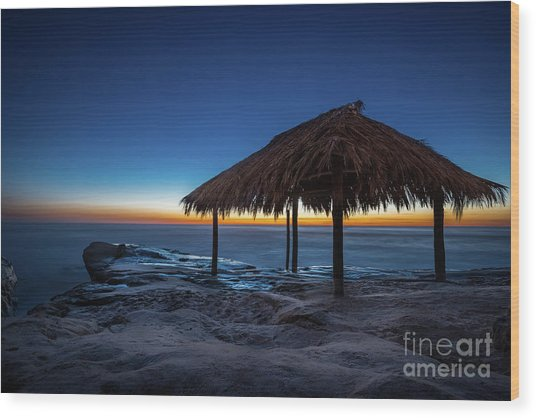 The Grass Shack At Windansea At Sunset Wood Print