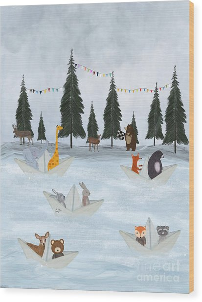 The Great Paper Boat Race Wood Print
