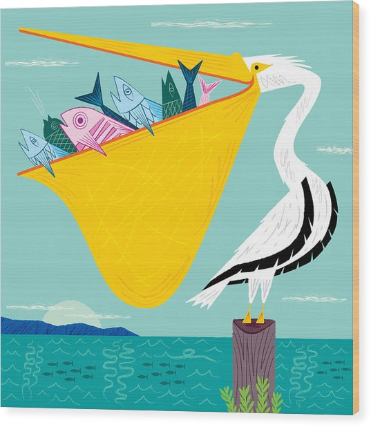 The Greedy Pelican Wood Print
