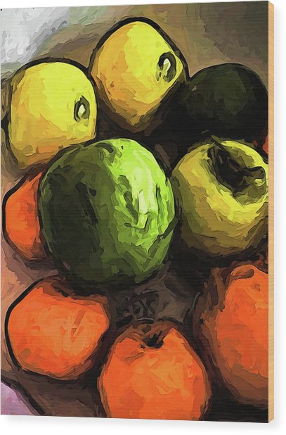 The Green And Gold Apples With The Orange Mandarins Wood Print