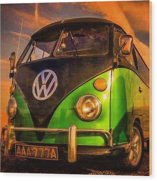 The Green And The Black #vw #camper Wood Print