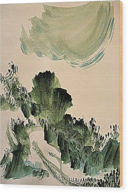 The Green Cliffs With A Cloud Wood Print
