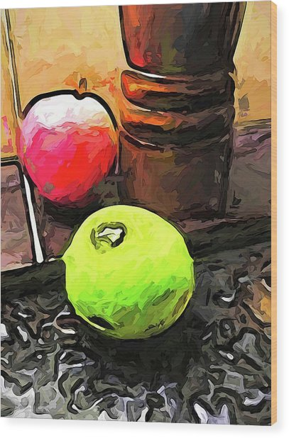 The Green Lime And The Apple With The Pepper Mill Wood Print