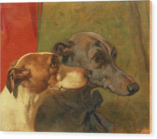 The Greyhounds Charley And Jimmy In An Interior Wood Print