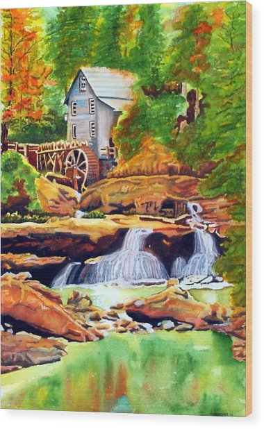 The Grist Mill Wood Print by Gerald Carpenter