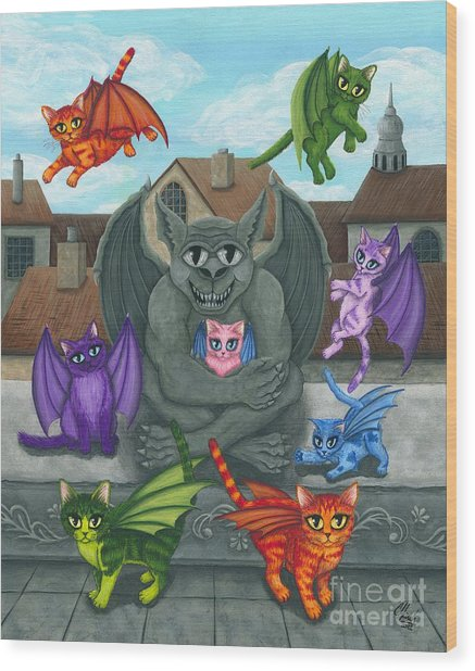 The Guardian Gargoyle Aka The Kitten Sitter Wood Print