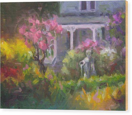 The Guardian - Plein Air Lilac Garden Wood Print