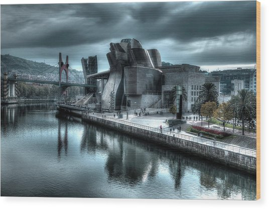 The Guggenheim Museum Bilbao Surreal Wood Print