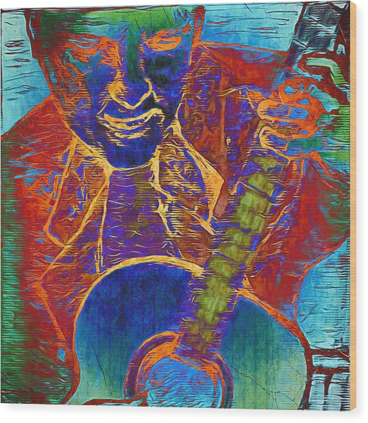 The Guitar Man - Two Wood Print