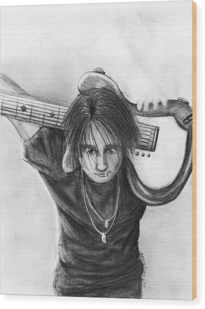 The Guitarist Wood Print by Katie Alfonsi
