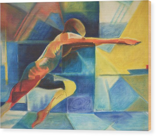 The Gymnast  Wood Print by Benedict Olorunnisomo