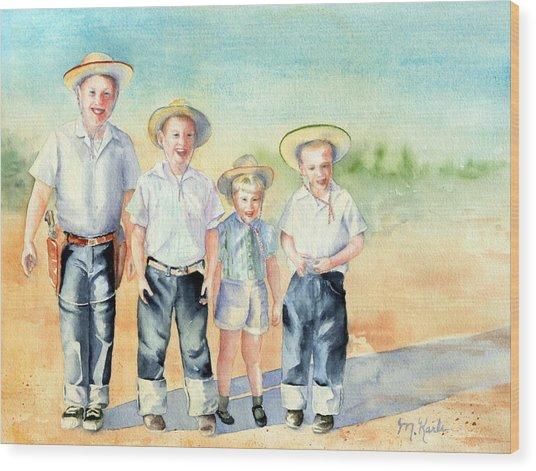The Happy Wranglers Wood Print