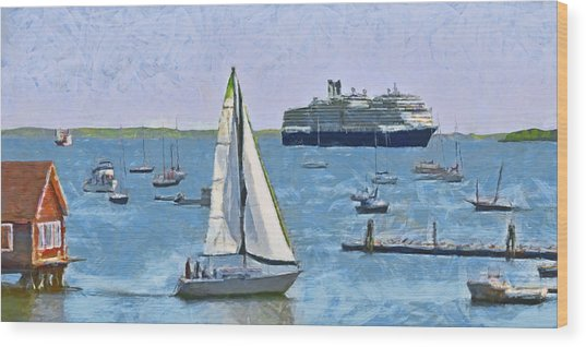 The Harbor At Rockland Maine Wood Print