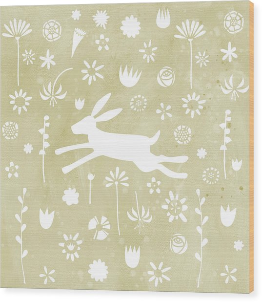 The Hare In The Meadow Wood Print