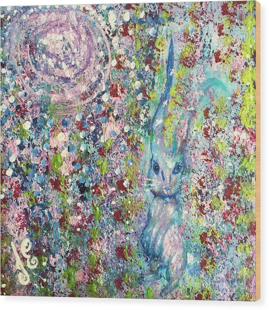 The Hare's Meadow Wood Print