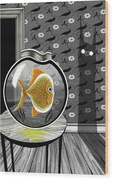 The Haunted Goldfish Bowl  Wood Print