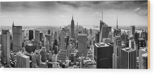 New York City Skyline Bw Wood Print