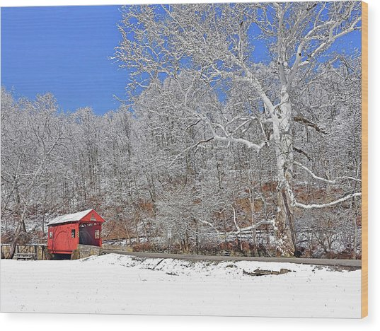 The Henry Bridge After A Late Winter Snow Wood Print