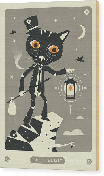 The Hermit Tarot Card Cat  Wood Print by Jazzberry Blue
