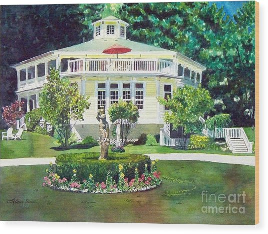 The Hexagon House, Bed And Breakfast, House Painting Wood Print