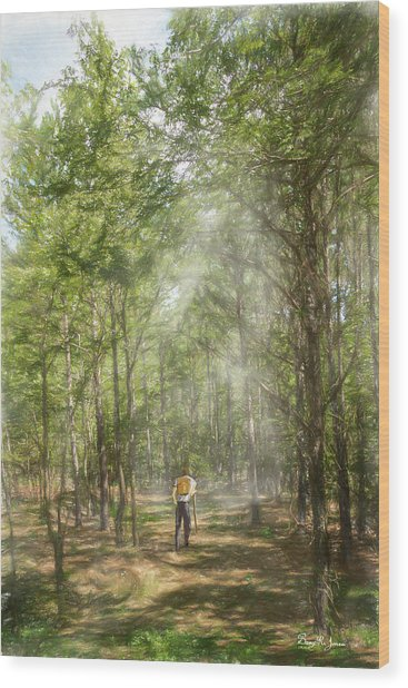 Wood Print featuring the digital art The Hiker by Barry Jones