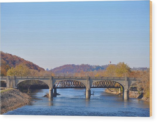 The Hill To Hill Bridge - Bethlehem Pa Wood Print
