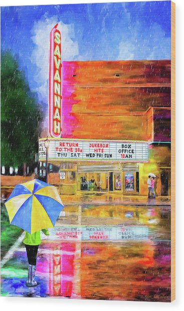Wood Print featuring the painting The Historic Savannah Theatre by Mark Tisdale