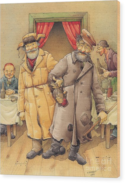 The Honest Thief 01 Illustration For Book By Dostoevsky Wood Print by Kestutis Kasparavicius