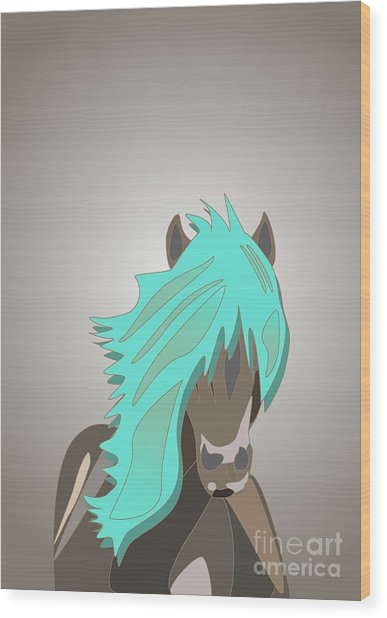 The Horse With The Turquoise Mane Wood Print