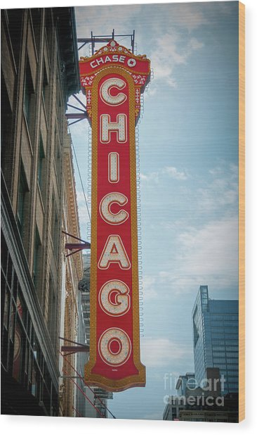 The Iconic Chicago Theater Sign Wood Print
