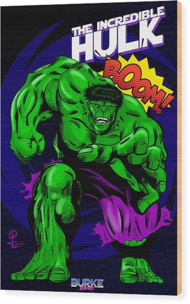 The Incredible Hulk Retro Style Wood Print by Joseph Burke