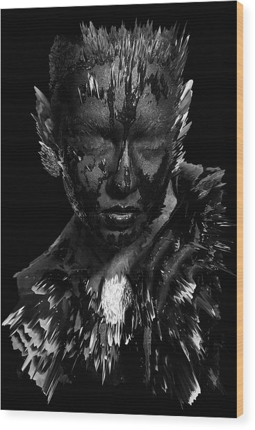 Wood Print featuring the digital art The Inner Demons Coming Out by ISAW Company