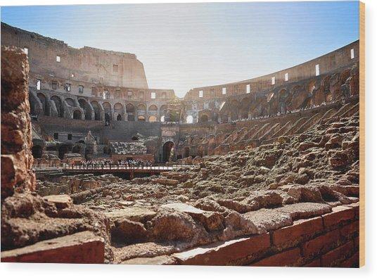 The Interior Of The Roman Coliseum Wood Print
