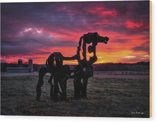 The Iron Horse Sun Up Art Wood Print