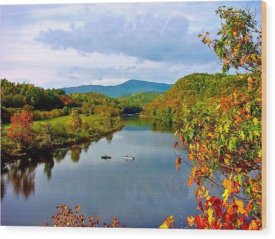The James River Early Fall Wood Print