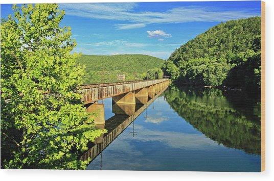 The James River Trestle Bridge, Va Wood Print