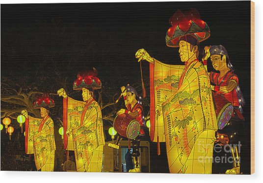 The Japanese Lantern Dancers Wood Print