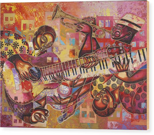 The Jazz Dimension  Wood Print by Larry Poncho Brown