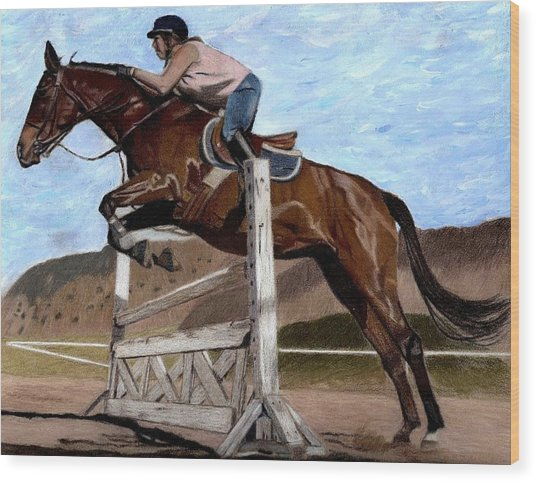 The Jumper - Horse And Rider Painting Wood Print