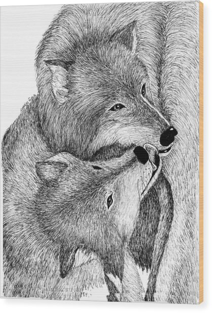 The Kiss Wood Print by Lorraine Foster