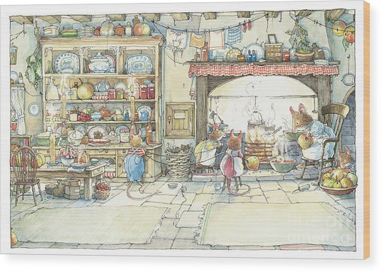 The Kitchen At Crabapple Cottage Wood Print