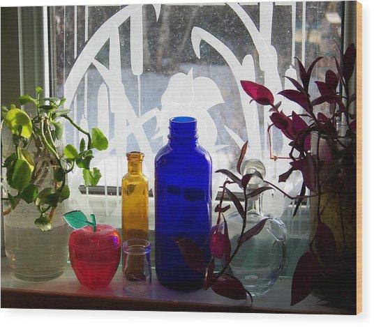 The Kitchen Window Sill Wood Print