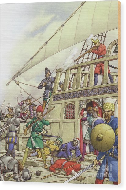 The Knights Of St John Seized Turkey's Finest Galleon, The Sultana Wood Print