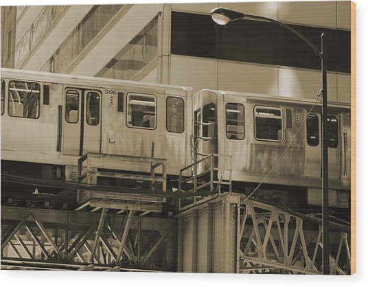 The L Downtown Chicago In Sepia Wood Print