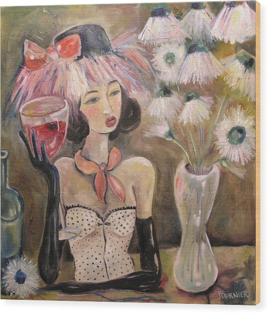 The Lady In The Flower Hat Wood Print by Jenna Fournier