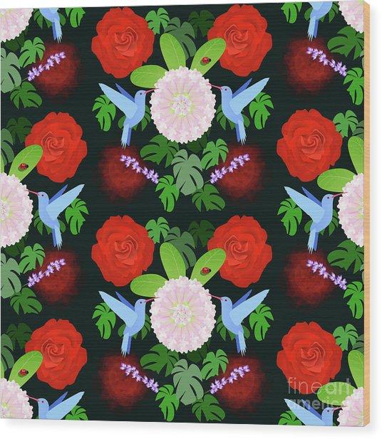 The Ladybird And The Hummingbird Wood Print