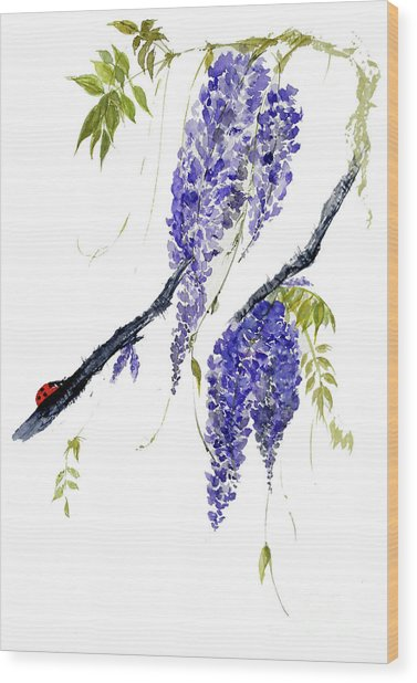 The Ladybird And The Wisteria Wood Print