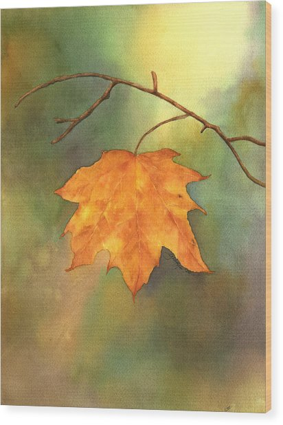 The Last Leaf Wood Print by Gladys Folkers