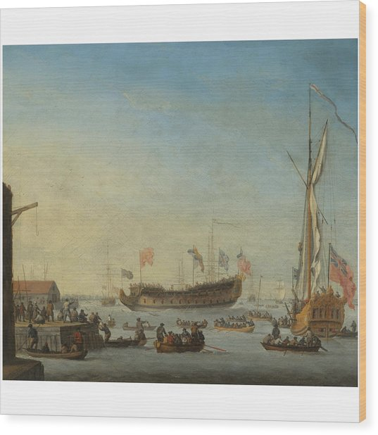 The Launch Of A Man Of War Wood Print