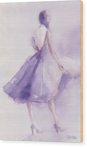 The Lavender Dress Wood Print by Beverly Brown